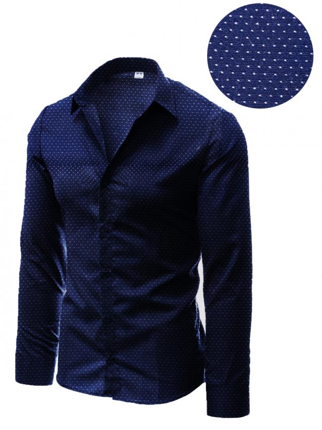 Мъжка риза с десен на фини тъмно сини точки