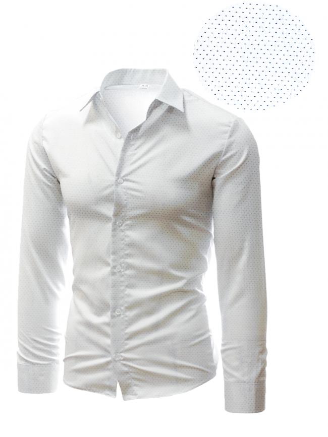 Бяла риза с фини бели точки