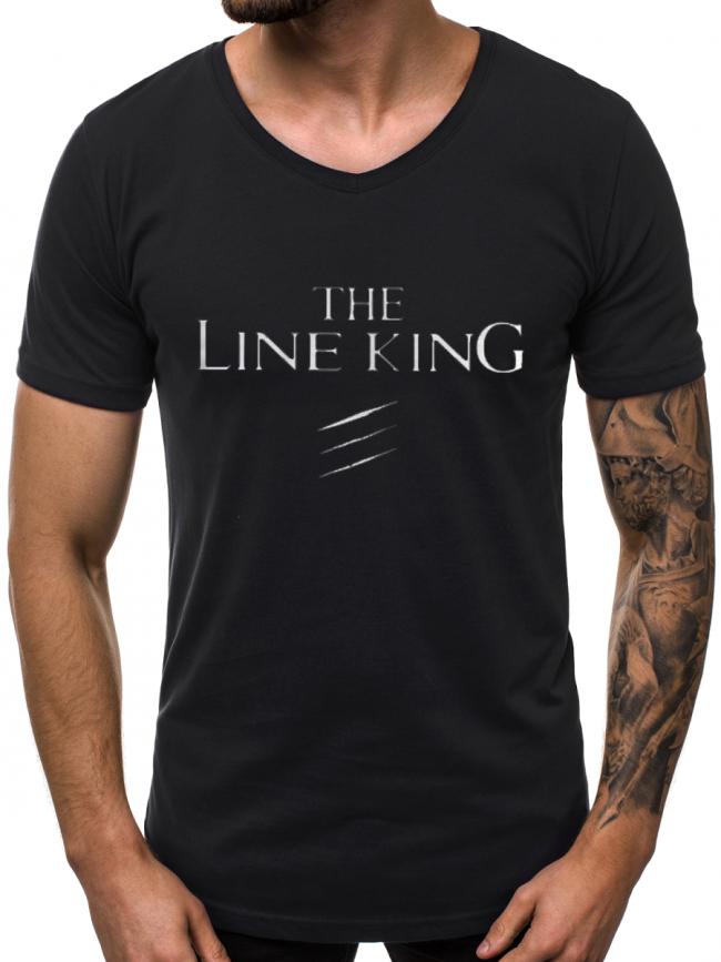 """Мъжка тениска """"Line King"""" модел 2019 - черна"""