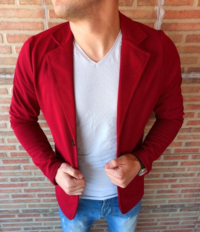 Спортно-елегантно сако памук - бордо