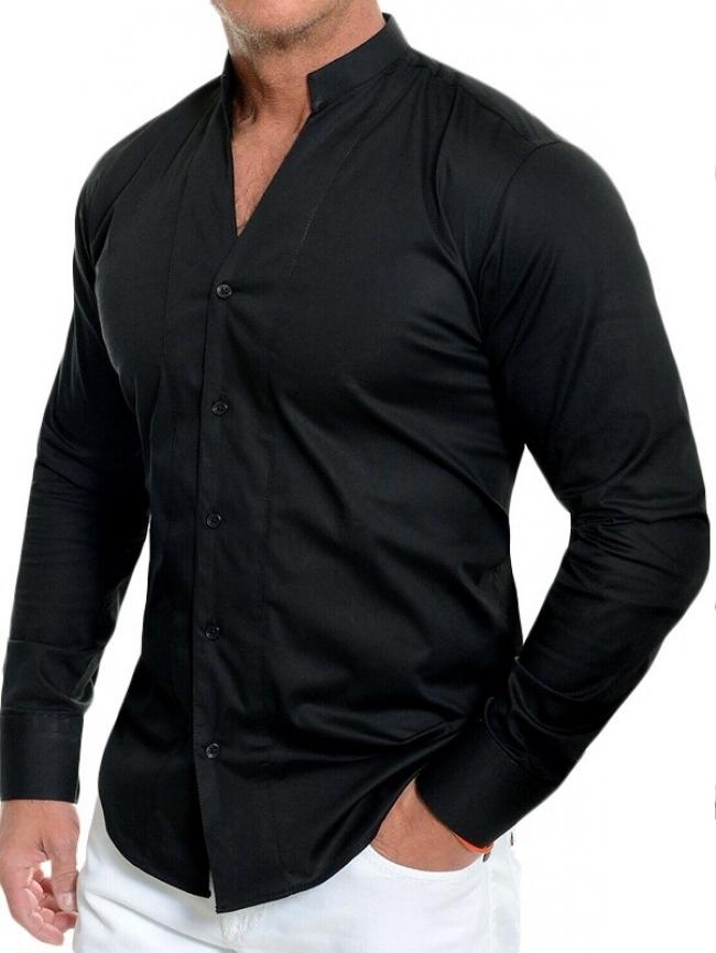 Спортно-елегантна Черна риза с малка яка Модел 2021г.