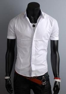 Мъжка бяла риза с къс ръкав