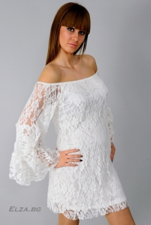 Бяла дантелена рокля VIP
