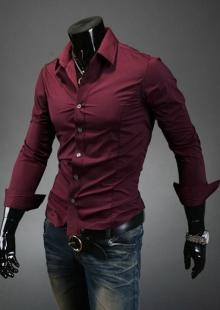 Вталена мъжка риза цвят бордо