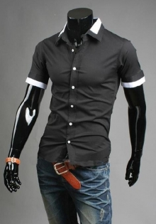 Мъжка лятна риза с къс ръкав