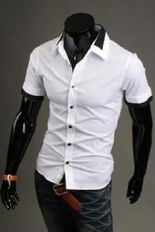 Мъжка лятна риза с къс ръкав бяла