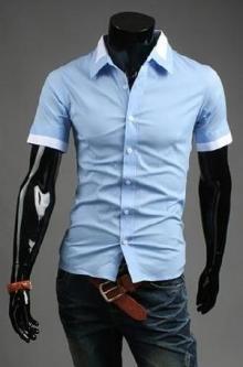Мъжка лятна риза с къс ръкав синя