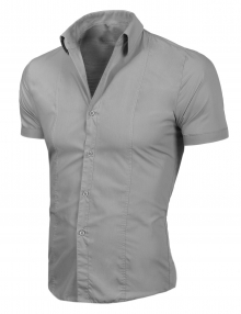 Стилна мъжка риза с къс ръкав Сива
