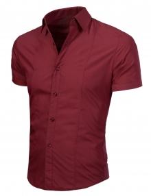 Стилна мъжка риза с къс ръкав Бордо