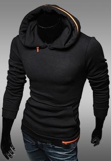 Мъжки суитчър с оранжев цип черен цвят ТОП МОДЕЛ !