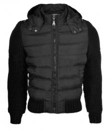Нов модел яке с плетка по ръкавите и гърба Черно