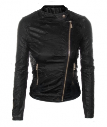 """Дамско кожено яке """"Елис' Червен и черен цвят"""