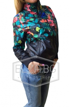 "Ежедневно дамско шушляково яке ""Елис"" Черно на цветя"