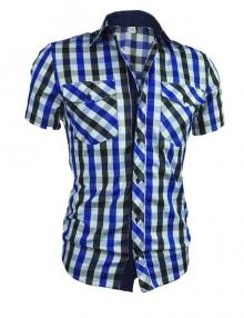 Карирана мъжка риза с къс ръкав и елегантна визия - синя