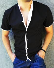 Модерна черна риза с къс ръкав, без яка