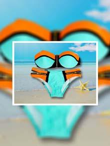 Нов модел бански със закопчаване 2019 Синьо с оранжево