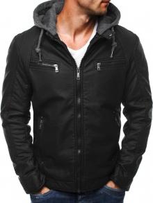 Мъжко яке от качествена еко - кожа с качулка Джеймс - черно