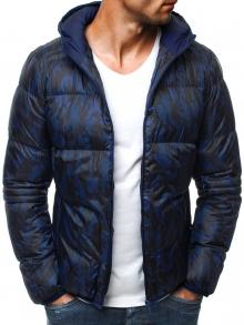 Мъжко яке с качулка и камуфлажен принт Enzo - синьо