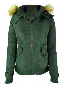 НОВ Модел дамско яке с пух - зелено