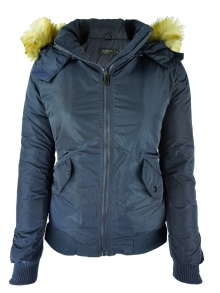 НОВ Модел дамско яке с пух - синьо