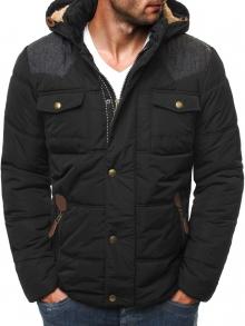Зимно мъжко яке със сваляща се кожена качулка - черно