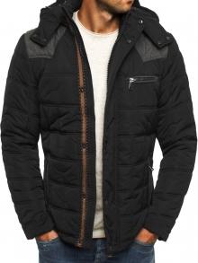 Плътно мъжко яке с качулка за студените дни - черно