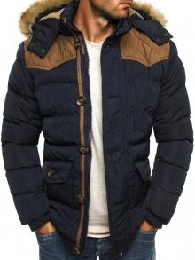 Мъжко яке със сваляща се качулка с пух и кръпки на лактите - синьо