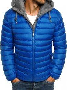 Мъжко шушляково яке с качулка и подплата - светло синьо