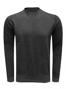 Памучна мъжка блуза с дълъг ръкав - тъмно сива