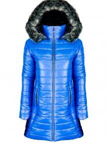 """Дълго дамско яке със сваляема качулка с пух """"Елви"""" - синьо"""