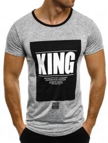 """Мъжка тениска """"KING"""" - сива"""