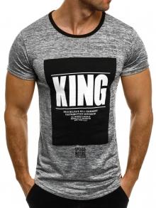 """Мъжка тениска """"KING"""" - тъмно сива"""