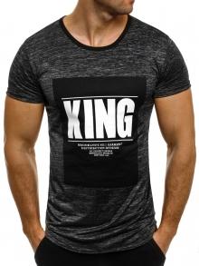 """Мъжка тениска """"KING"""" - графит"""
