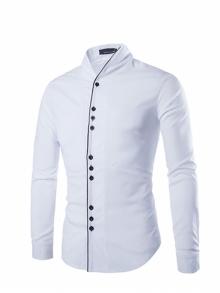 Класическа мъжка риза НОВ МОДЕЛ с три копчета Бяла