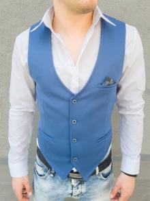 Стилен мъжки елек с кърпичка - светло син