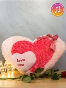 Плюшено розово сърце Love you !