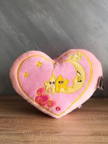 Розово сърце със звездички и луна