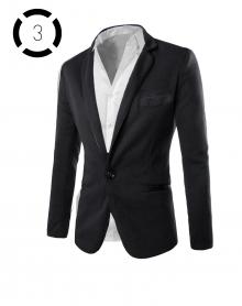 Комплект черно сако и втален модел класическа бяла риза