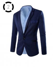 Комплект синьо сако със светло синя риза