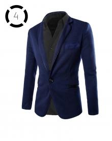 Комплект синьо сако и спорно-елегантна мъжка риза