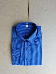 Мъжка риза с дълъг ръкав на сини карета