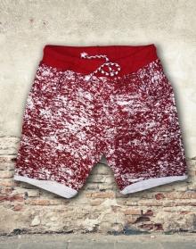 Къси памучни панталони с модерен принт - червени