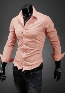 Втален модел мъжка риза цвят Праскова