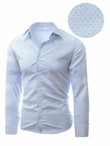 Мъжка риза с десен на фини светло сини точки