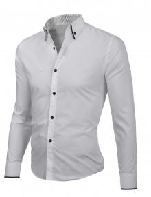 Изчистена бяла риза с черни ревери