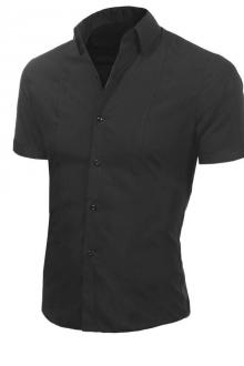 Стилна мъжка риза с къс ръкав Черна