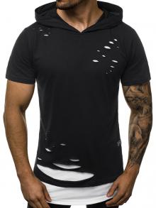 """Мъжка тениска с качулка """"Berserk"""" - Черно и бяло"""