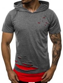 """Мъжка тениска с качулка """"Berserk"""" - Сиво и червено"""