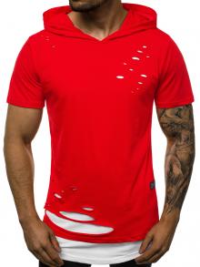 """Мъжка тениска с качулка """"Berserk"""" - Червено и бяло"""