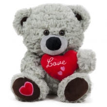 Мече със сърце Cute - Сиво - 24см